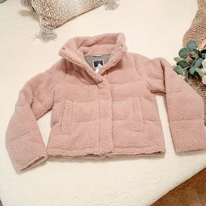 Abercrombie and Fitch Pink Sherpa Puffer Coat